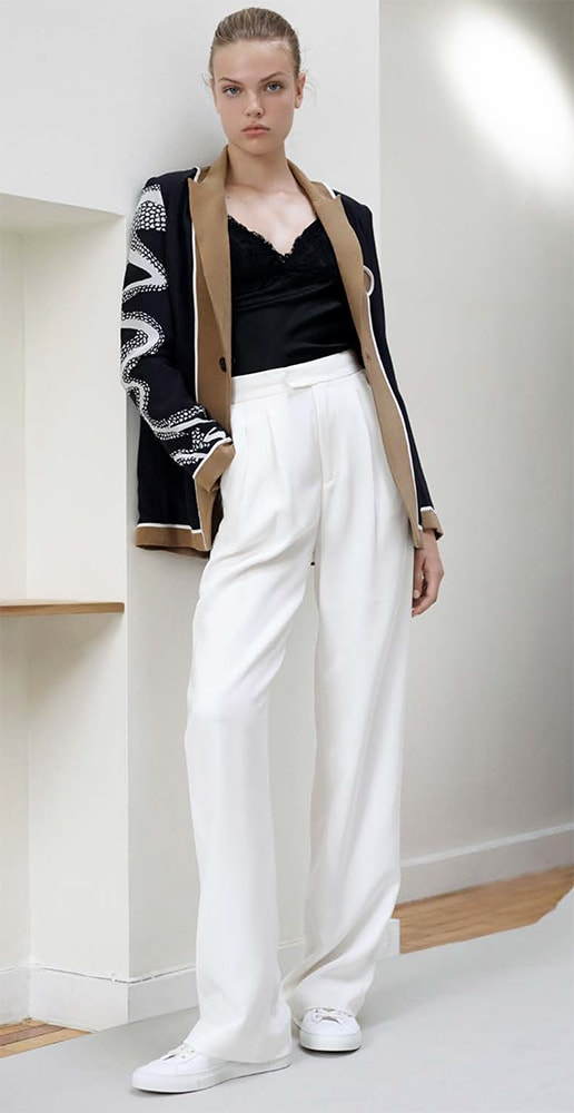 total look judy zhang with white pants