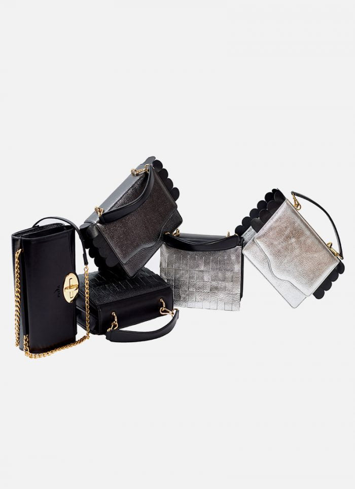 Pica Bags different variants in silver and black colour with gold chain and gold details
