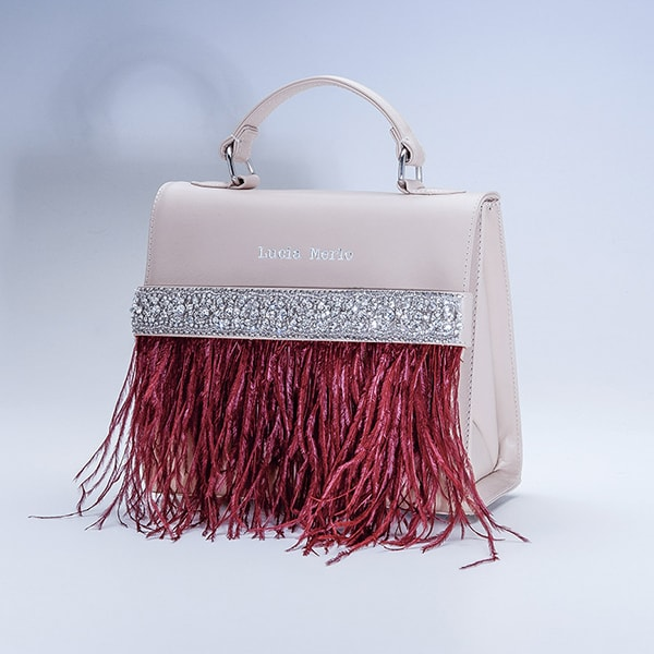 Lucia Merlo bag with feathers