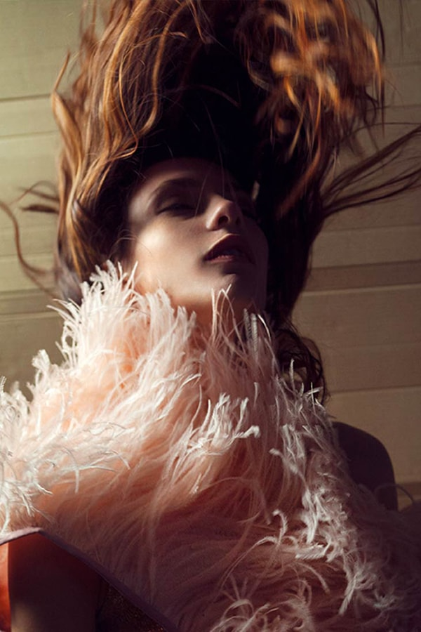 Mario Costantino Triolo dress with feathers