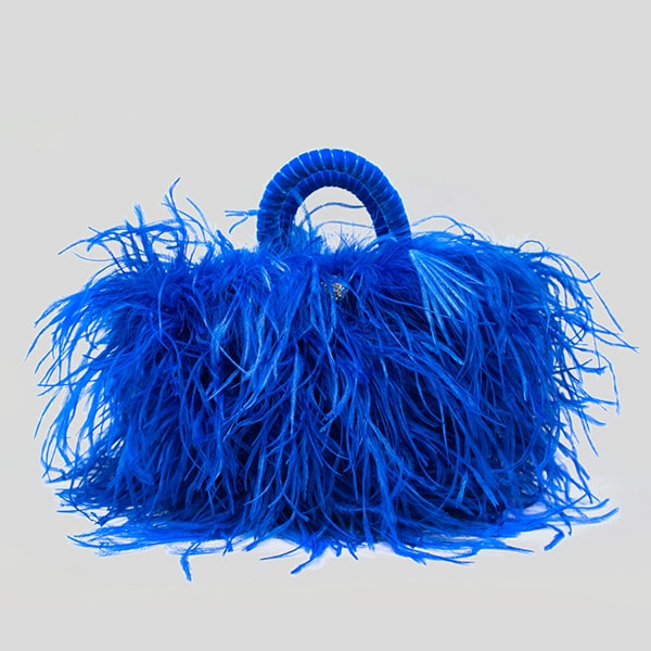 pescepazzo bag with feathers