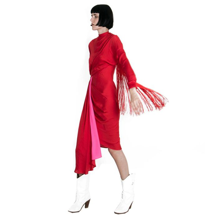 midi dress alessandro de benedetti red with fringes