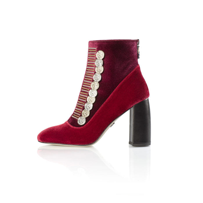 red velvet ankle boots with gold coins susana madrid