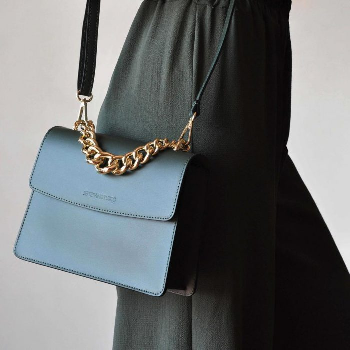 light blue shoulder bag with gold chain by stefanoturco