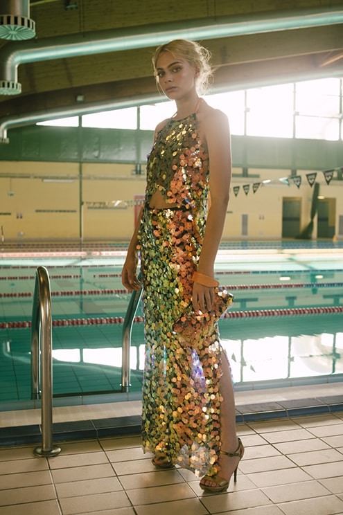 Total look The B with sequin crop top and sequin skirt