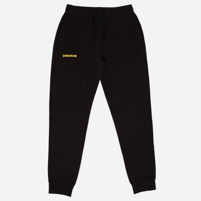 The Gift, the perfect gift for Him: black Çamarche joggers with yellow logo detail