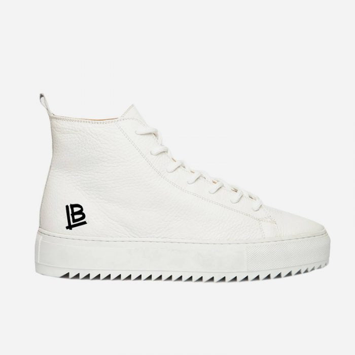 The Gift, the perfect gift for Him: high-top Luca Berioli sneakers, with high sole, in white leather with black logo detail