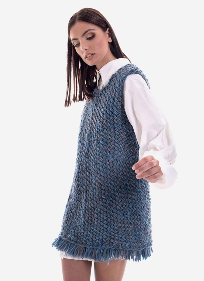 The Look Blue: short knitted dress by Arianna Di Maio