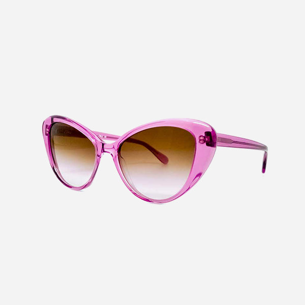 Aru sunglasses with pink frame and cat shape, shaded brown lens