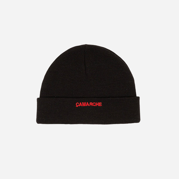Black Camarche beanie with a small red logo
