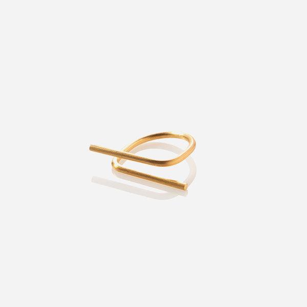 Tube Collanevrosi ring in geometric and minimal shape made of gold plated brass