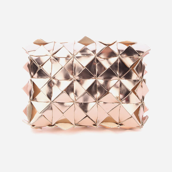 Small clutch in gold-colored leather by Clemsa