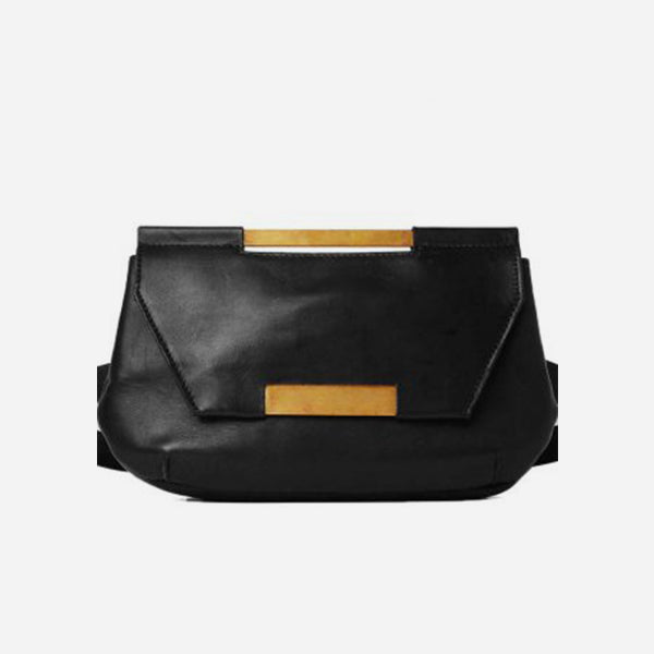 Beltbag in black vegetable-tanned leather by Maison Dressage, with gold-plated brass inserts