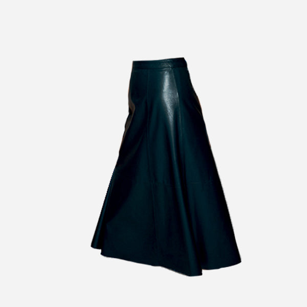 The Al's midi and flared skirt in vegetable-tanned leather in petroil green