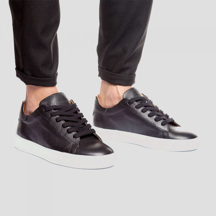 Black leather sneakers with white sole Luca Berioli