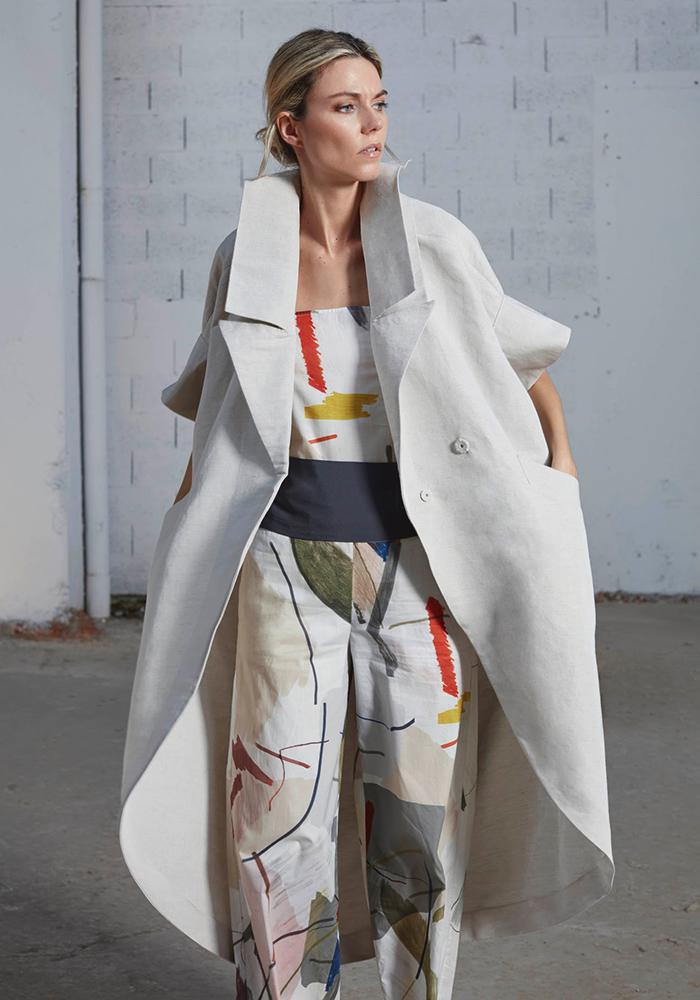 Ice-colored hooded trench coat by Bav Tailor