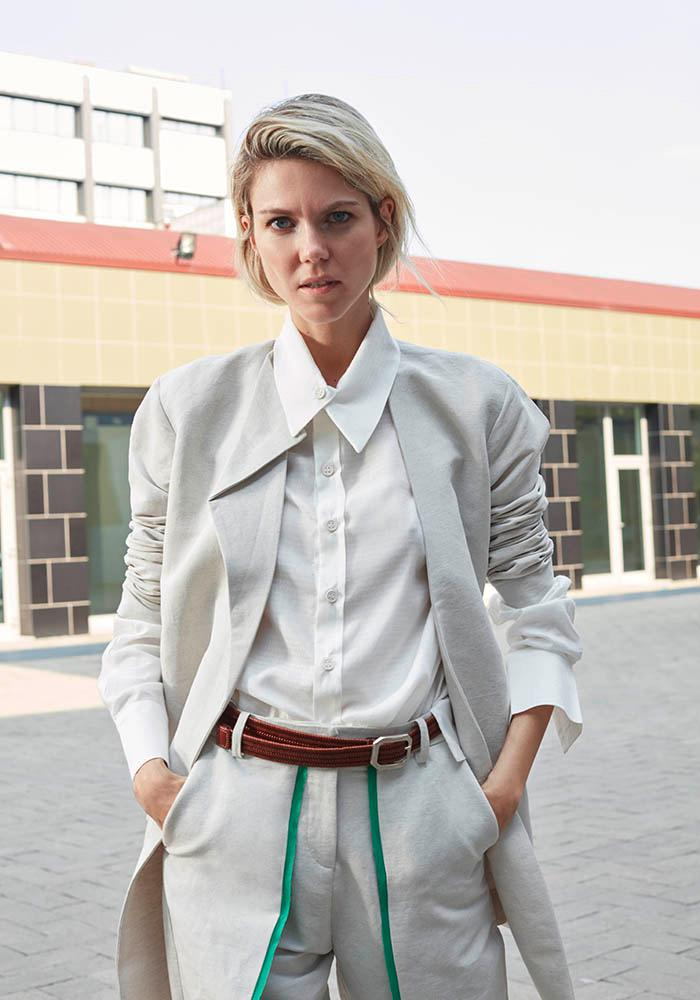 Bav Tailor ice-colored trench coat