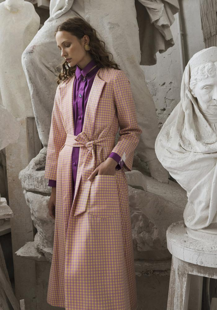 Pink and white checked trench coat by Cettina Bucca