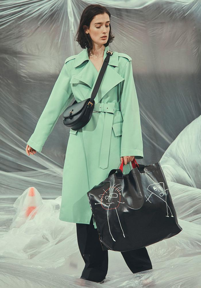 Plan C mint green trench coat with waist belt