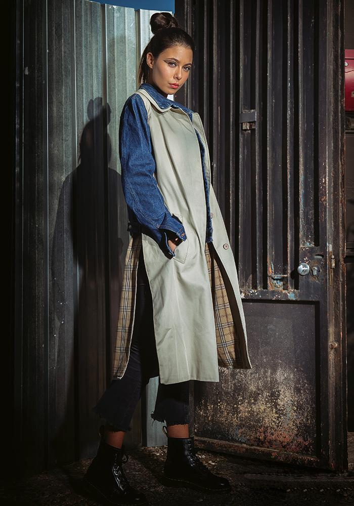 Yekaterina Ivankova beige and jeans trench coat