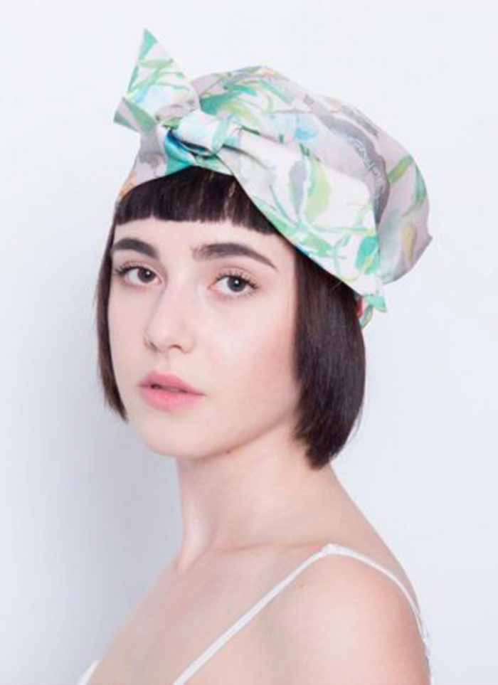 Yojiro Kake turban with floral print and central bow
