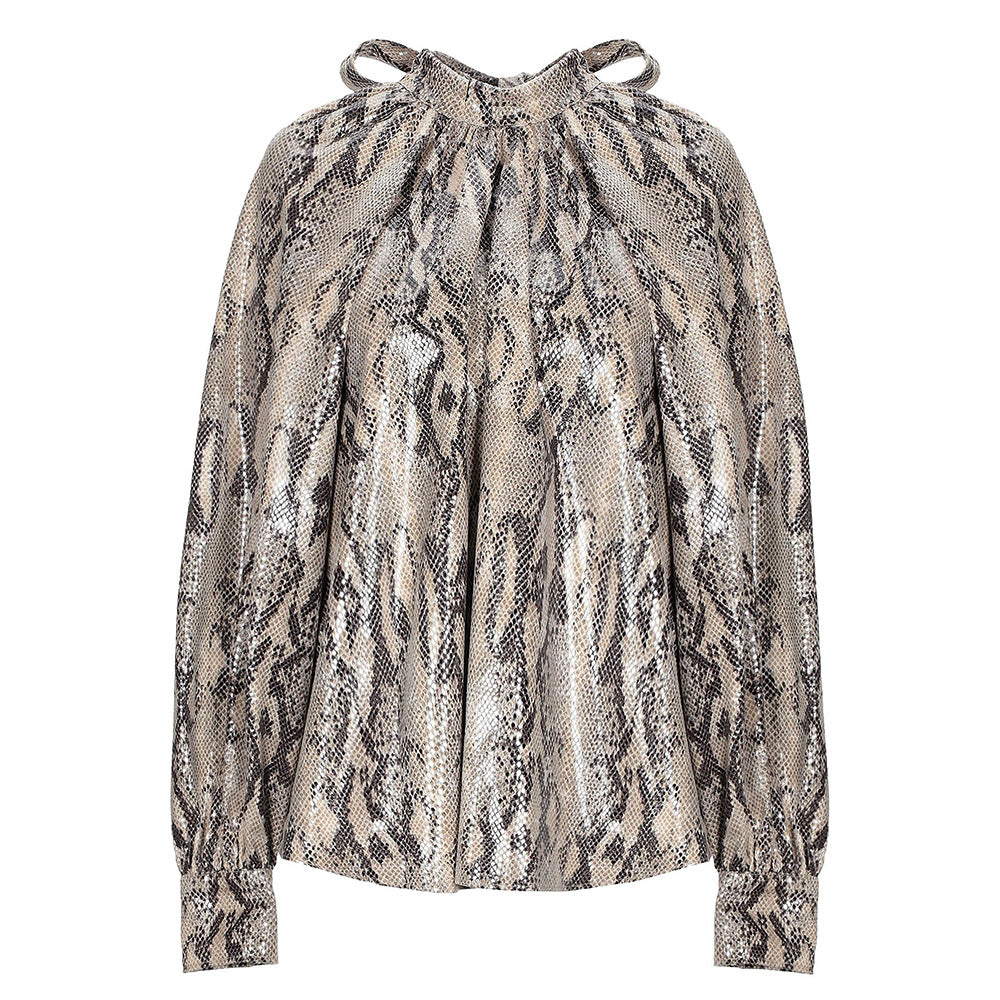 Animalier Blouse - Msgm. Animalier techno-fiber blouse, suede effect, puff sleeves, collar with bow. Made in Italy.