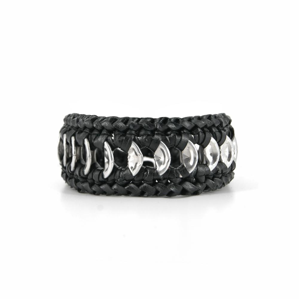 Unisex bracelet with silver pop tops and ecoleather crochet