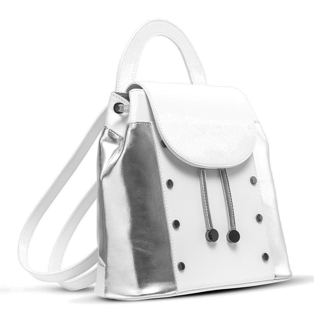 Ilaria White & Silver Backpack - Kilesa. Back pack in calf leather and textile. Adjustable leather handle and shoulder straps. Drawstring closure. Hardwear and studs in gunmetal.