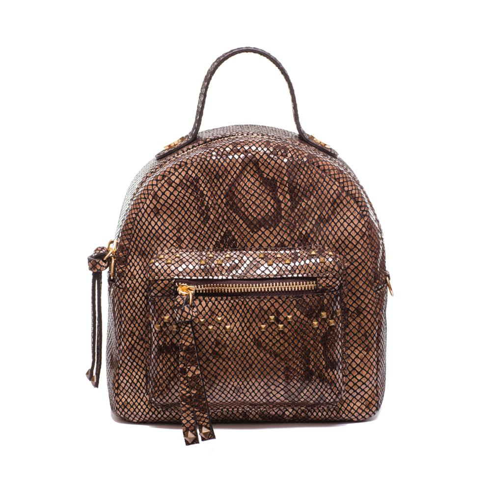 Julia Back Pack Mini - Kilesa. Smooth calf leather mini backpack with printed pyton. Leather shoulder strap and handle. Zip closure. Outside front zip pocket with metal studs. Removable chain shoulder strap. Interior zip pocket. Golden metal accessories.