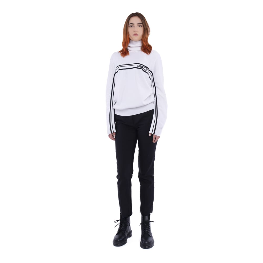 GCDS Unisex Logo Band White Sweater on ObFashion.com