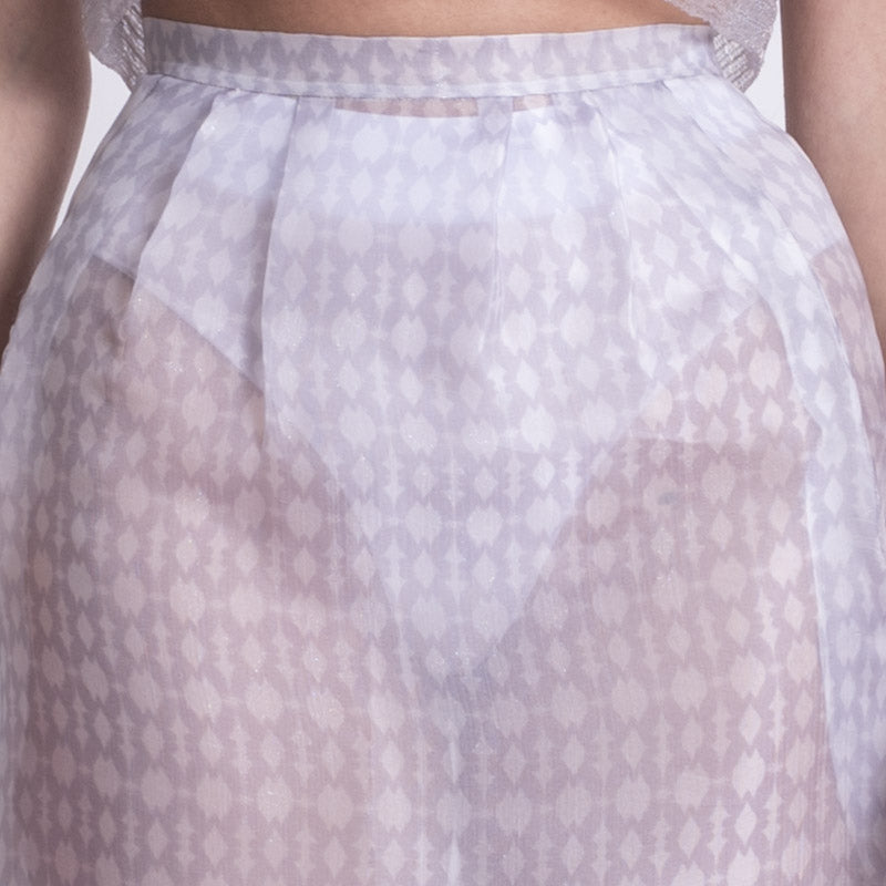 Ambra Castello Wet Effect Skirt silver detail