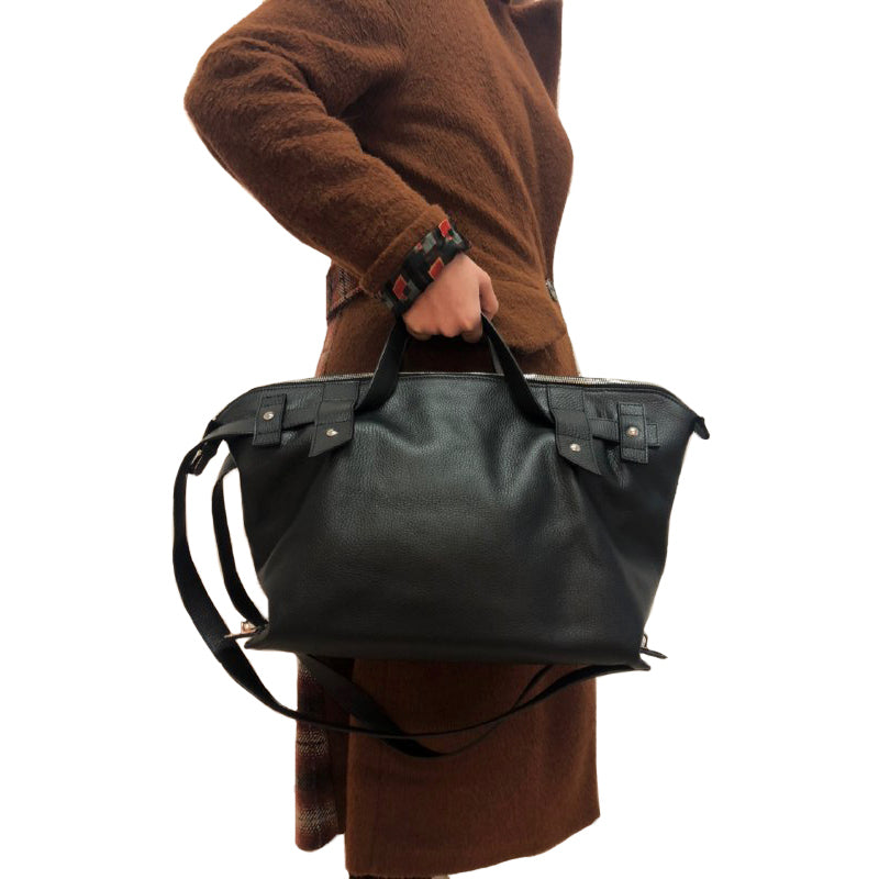 Nirvana Black - Nicole Leòn. Three styles in one handbag (Tote + satchel + backpack).