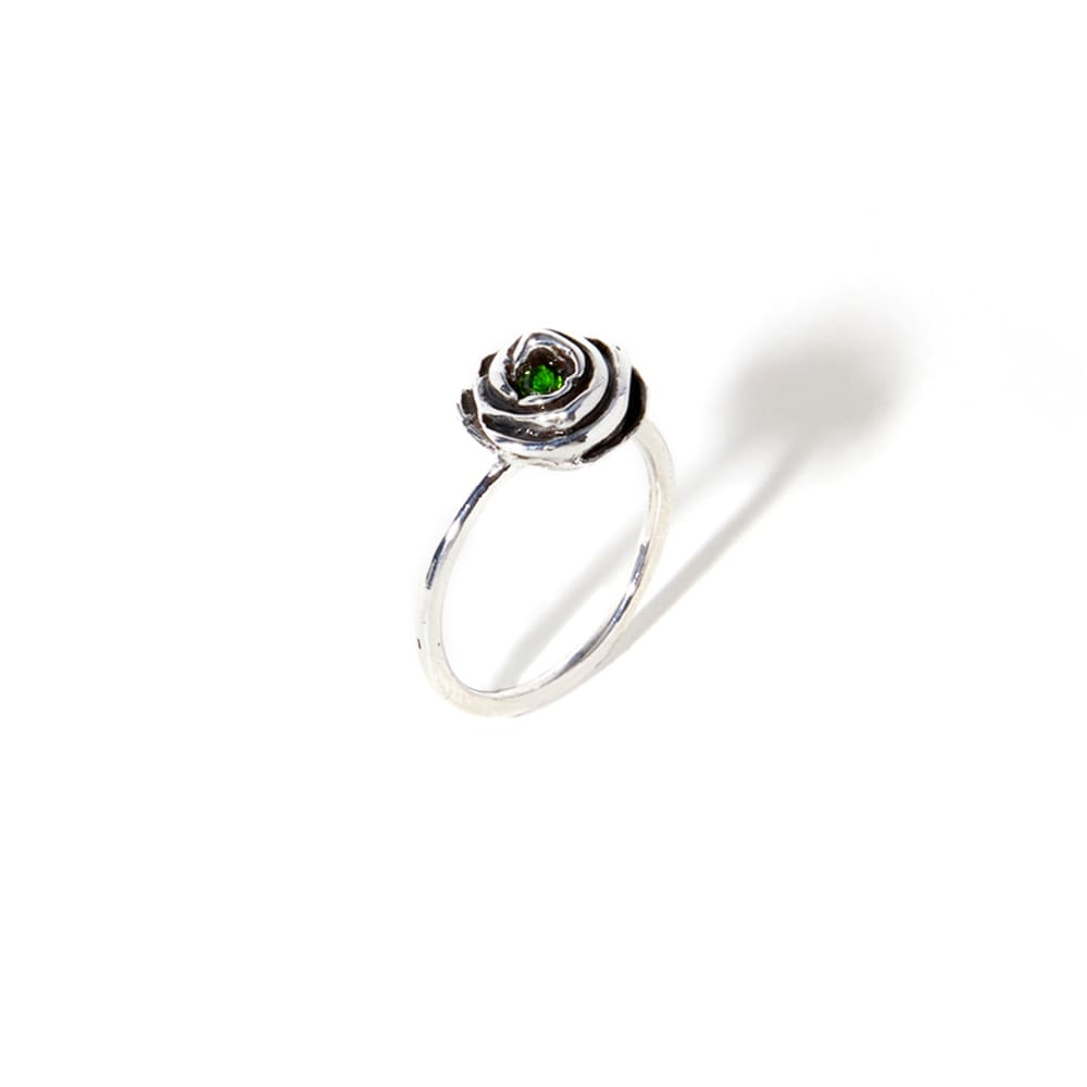 Phanagoria Green Ring - Dea Rail. Handmade burnished sterling silver ring with semiprecious natural stones.