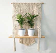 Load image into Gallery viewer, Handcrafted Macrame Plant Hanger with Shelf - Gardener Lenn