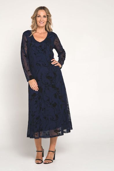 Ann Flocked Mesh Dress - Navy
