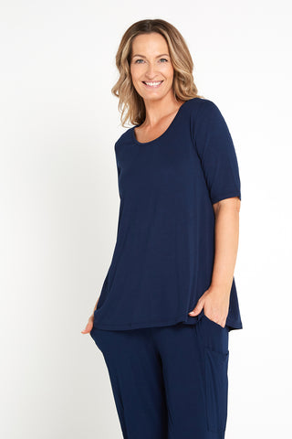 Carter Bamboo Top - Navy