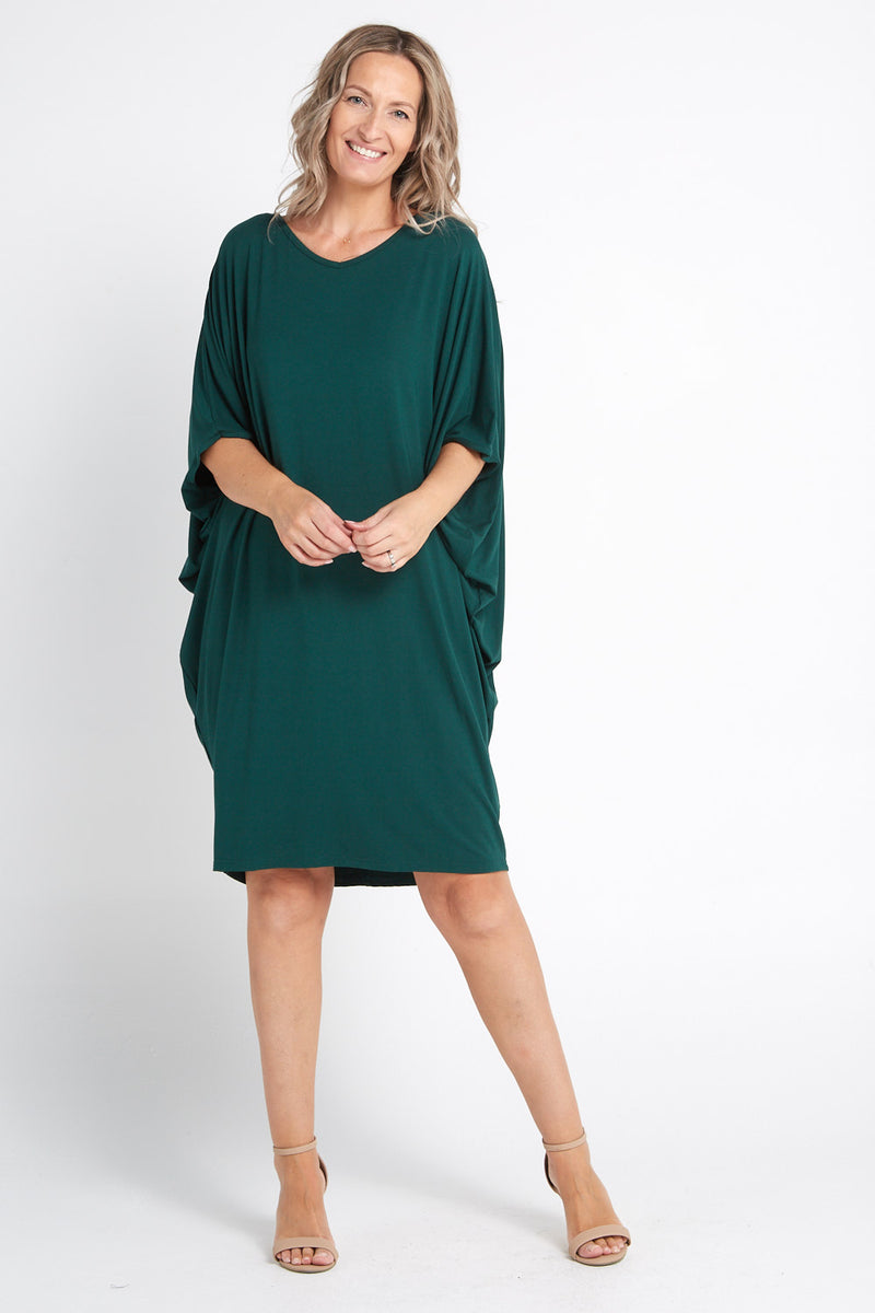 Bamboo Cocoon Dress - Forest Green