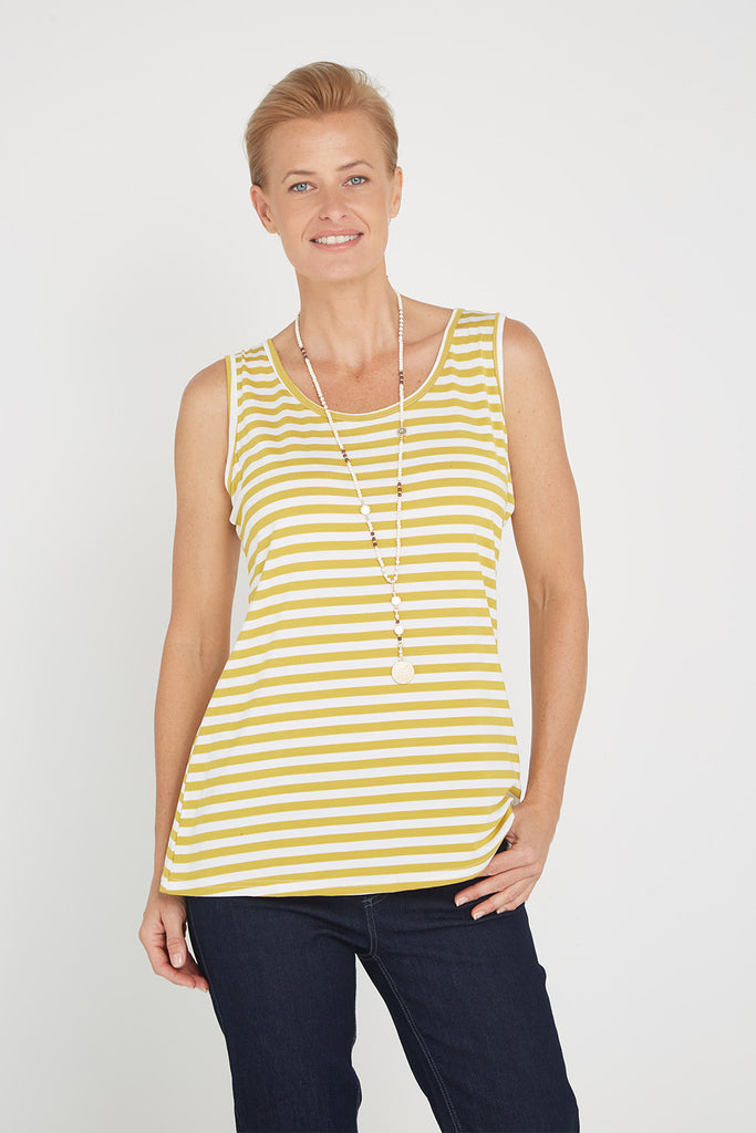Basic Stripe Tank - Mustard