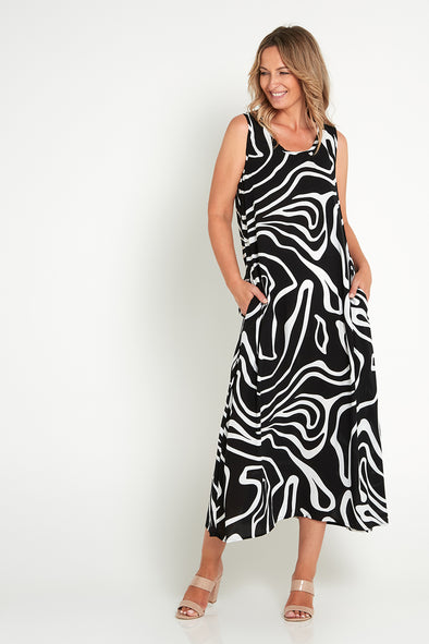 Rita Dress - Black Swirl