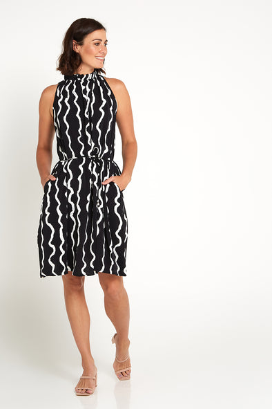 Melina Dress - Black/Wave Stripe