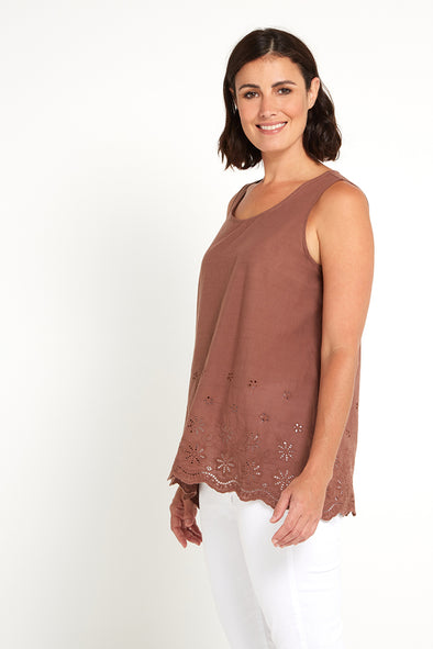 Embroidery Cami Top - Coffee