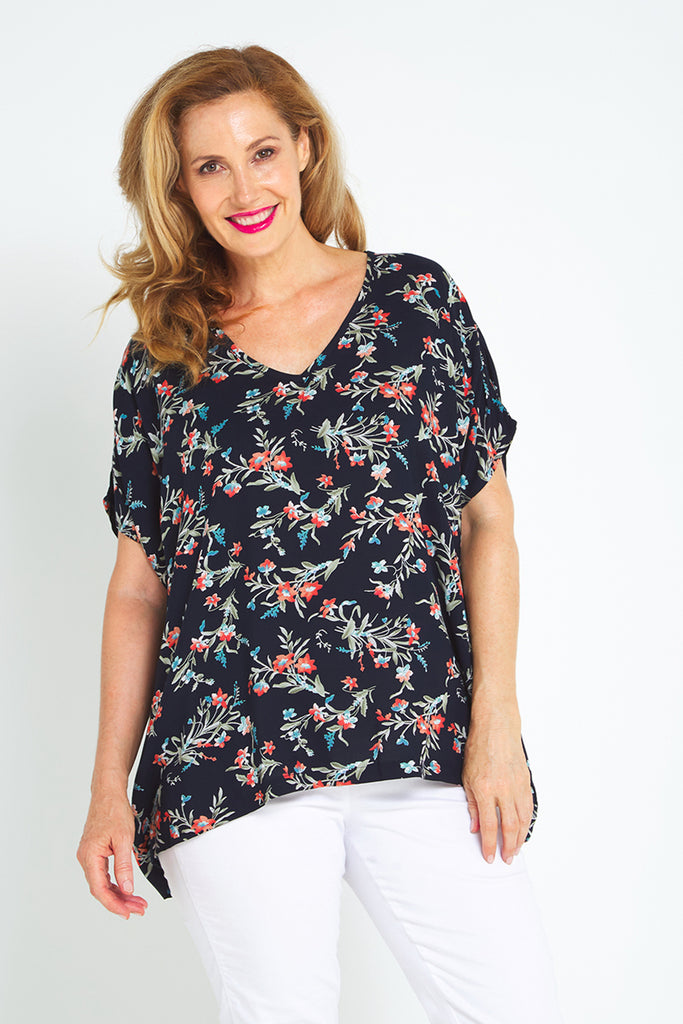 Cara Top - Navy Flower