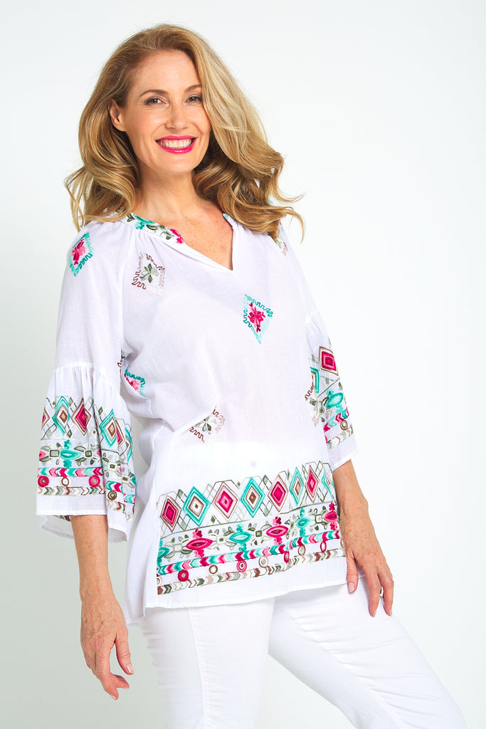 Mercy Embroidery Blouse - White