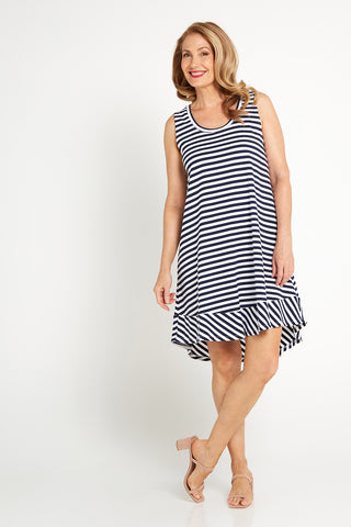 Sheena Dress - Navy/Stripe