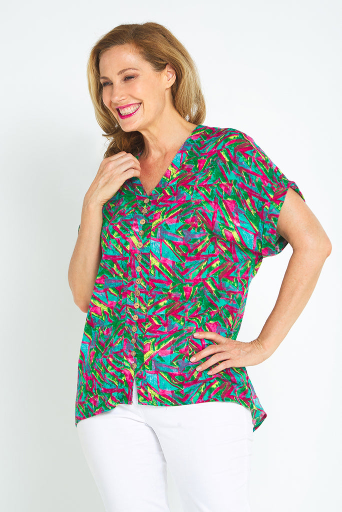 Shaya Top - Red/Jade