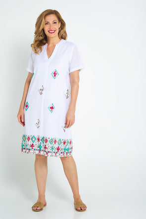 Christine Dress - White/Embroidery