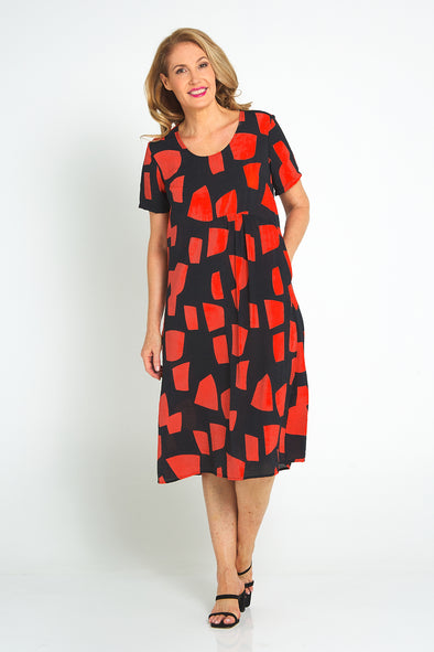 Pebbles Dress - Black/Coral