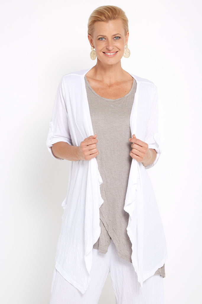 Teegan Crush Cardigan - White