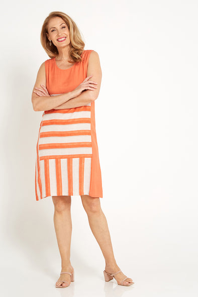Salt Water Dress - Coral/Sand
