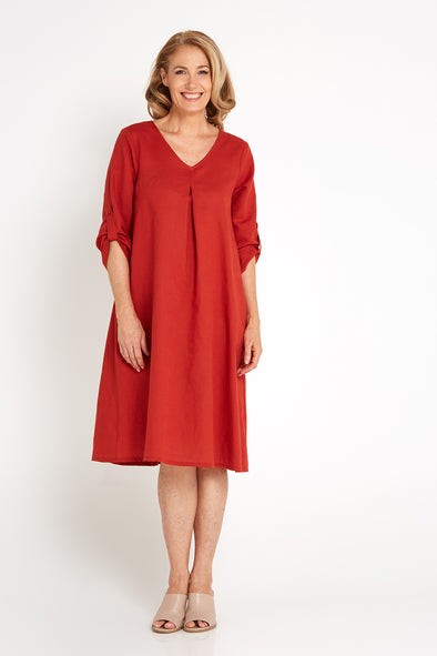 Fremantle Linen Dress - Rust Red